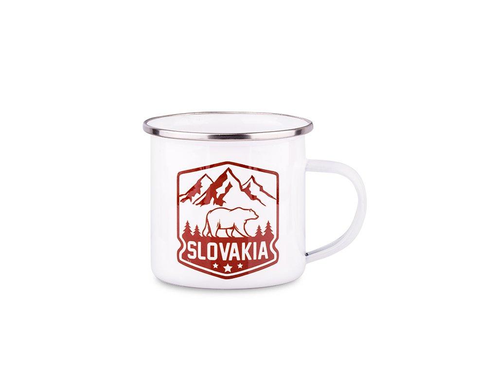 Plechový smaltovaný Hrnček Slovakia - Medveď