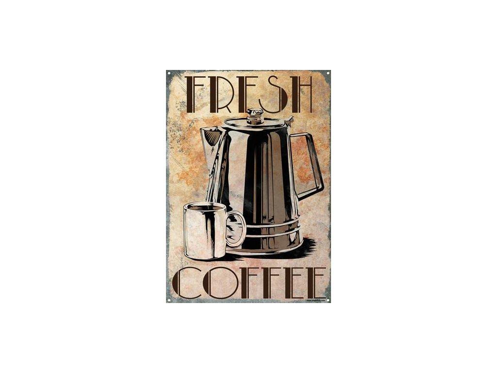 Plechová Ceduľa Fresh Coffee