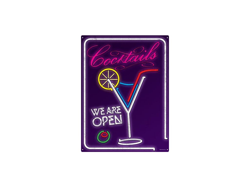 Plechová Ceduľa Cocktails - We Are Open