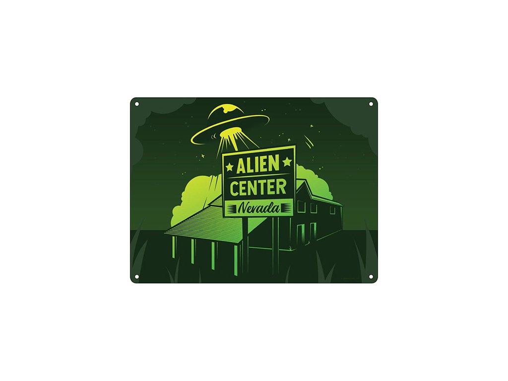 Plechová Ceduľa Alien Center Nevada