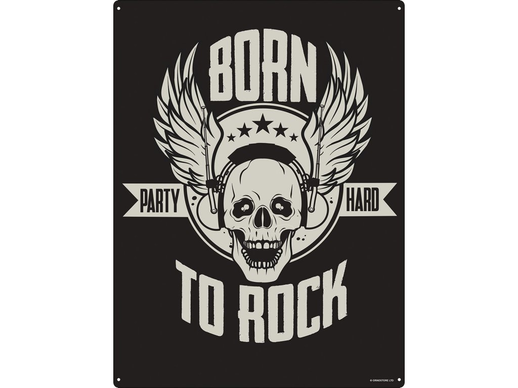 Plechová Ceduľa Born to Rock