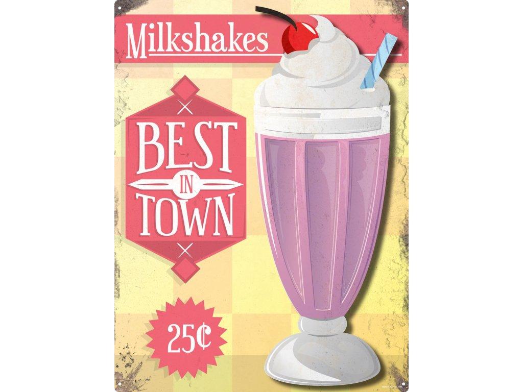 Plechová Ceduľa Milkshakes
