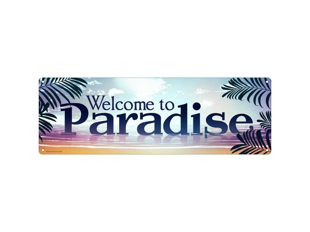 Plechová Ceduľa Welcome To Paradise