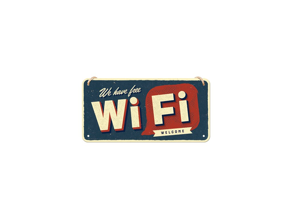 Plechová Ceduľa Free Wi-Fi