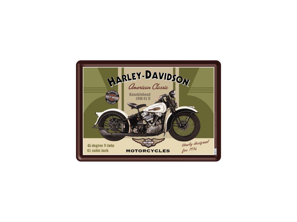Plechová Pohľadnica Harley-Davidson 1936 Knucklehead