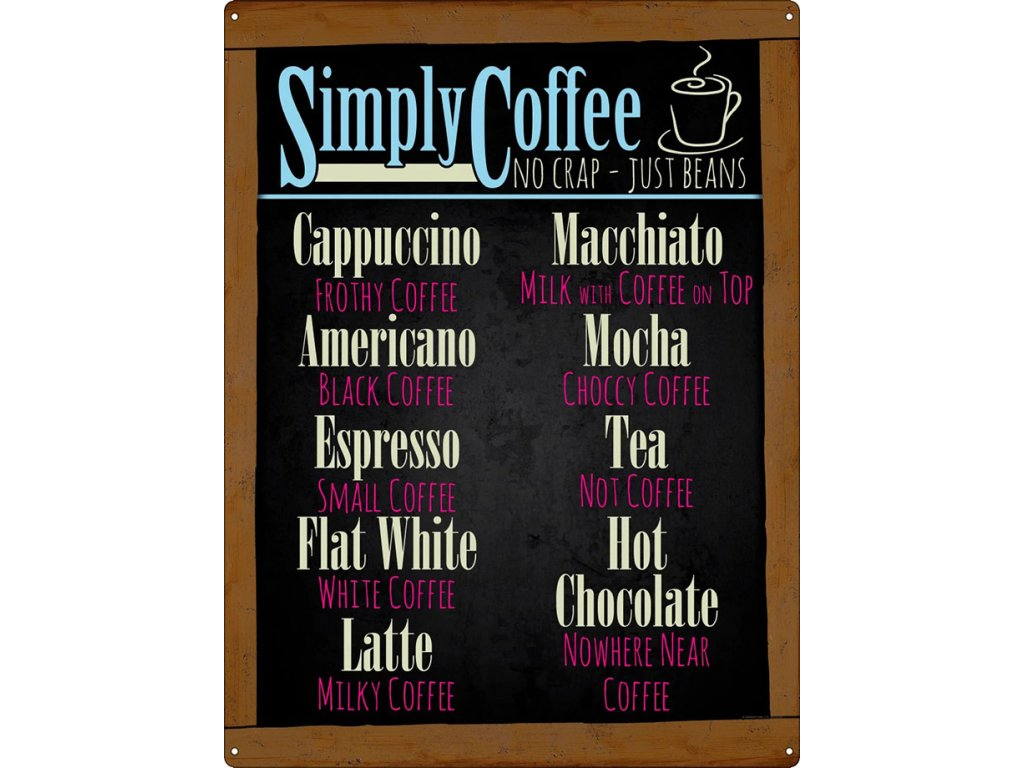 Plechová Ceduľa Simply Coffee
