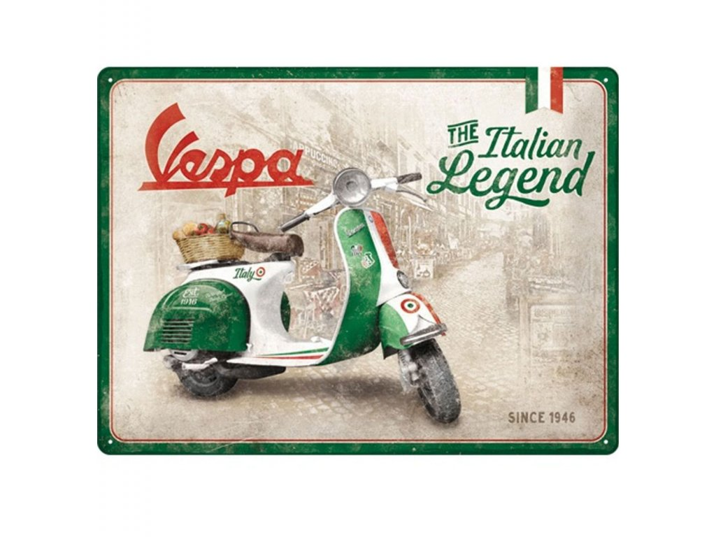 Plechová ceduľa Vespa Italian Legend