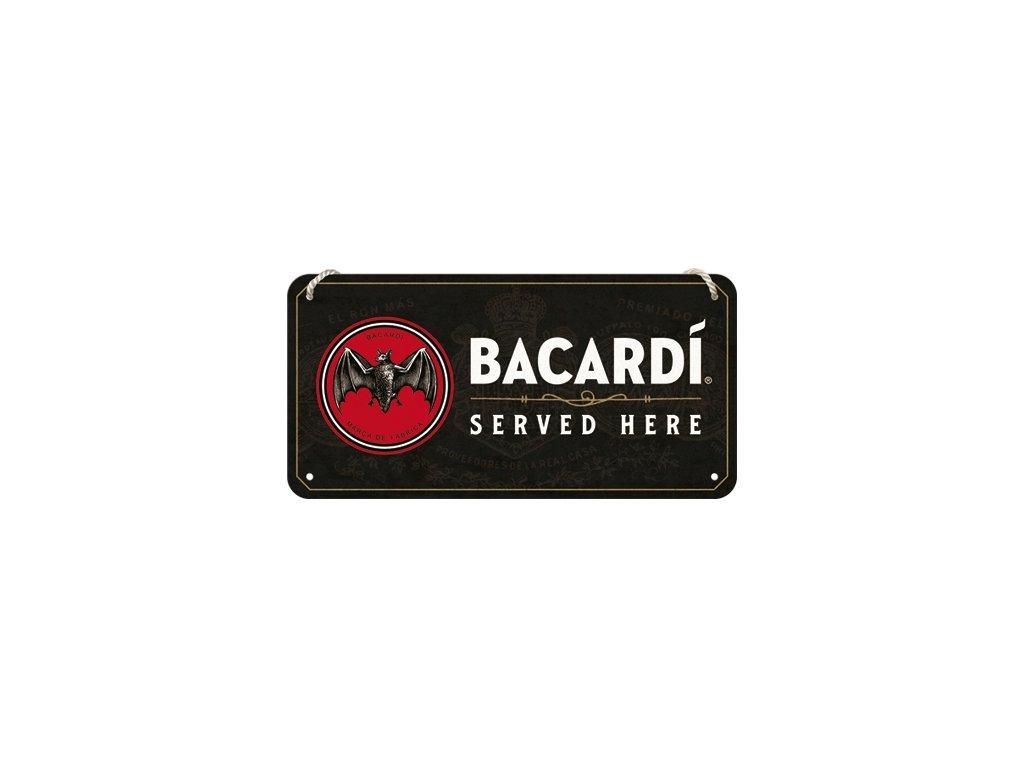 Plechová Ceduľa Bacardi Served Here