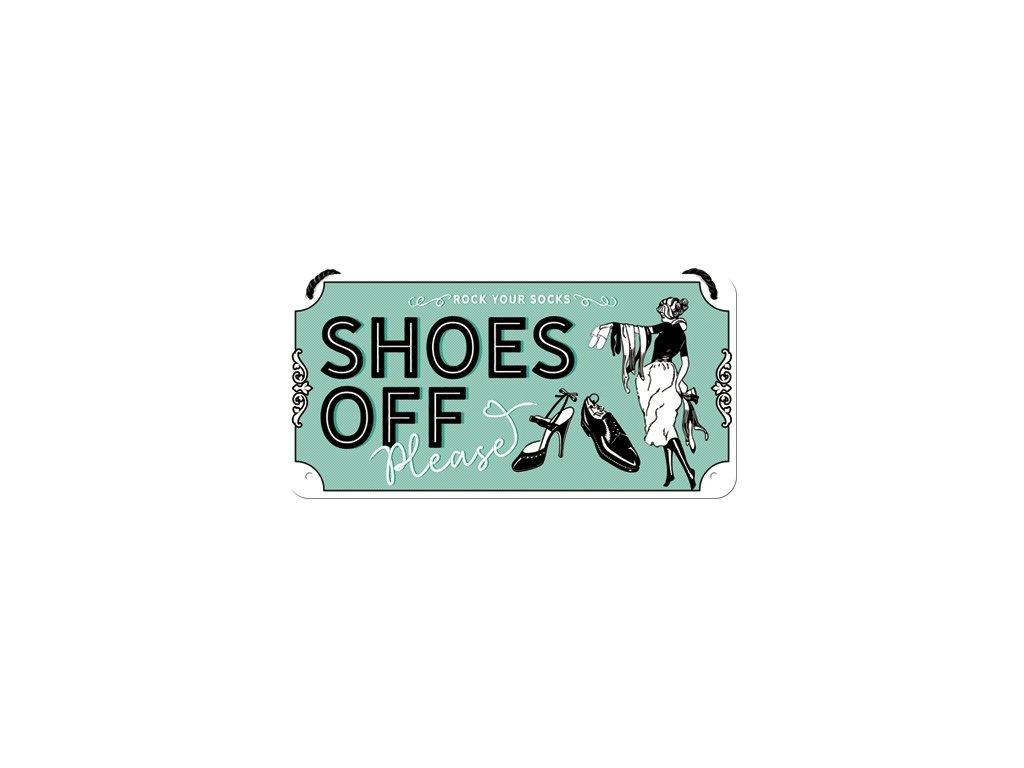 Plechová Ceduľa Shoes Off Please