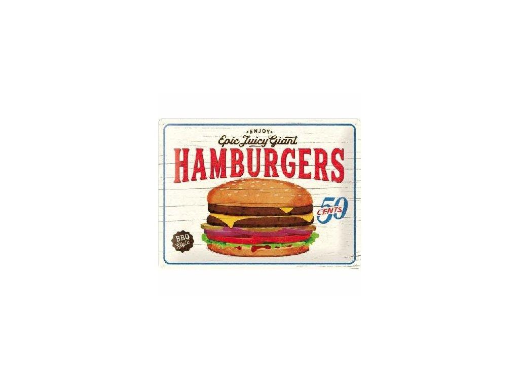 Plechová Ceduľa Juicy Hamburgers