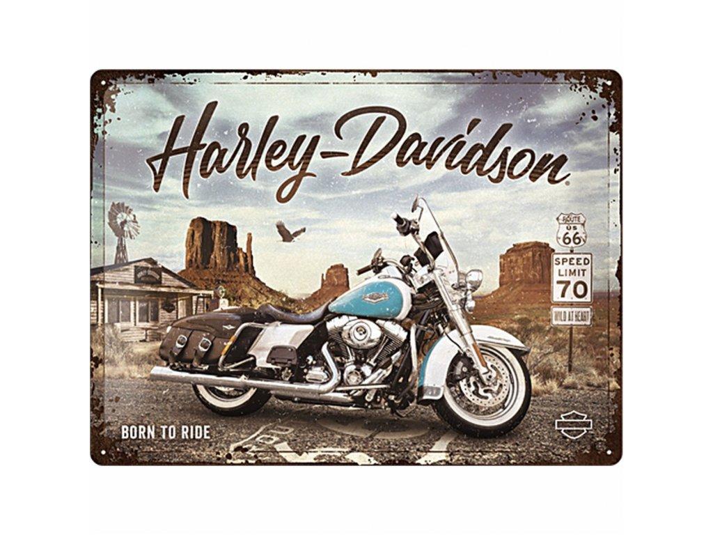 Plechová Ceduľa Harley-Davidson King of Route 66