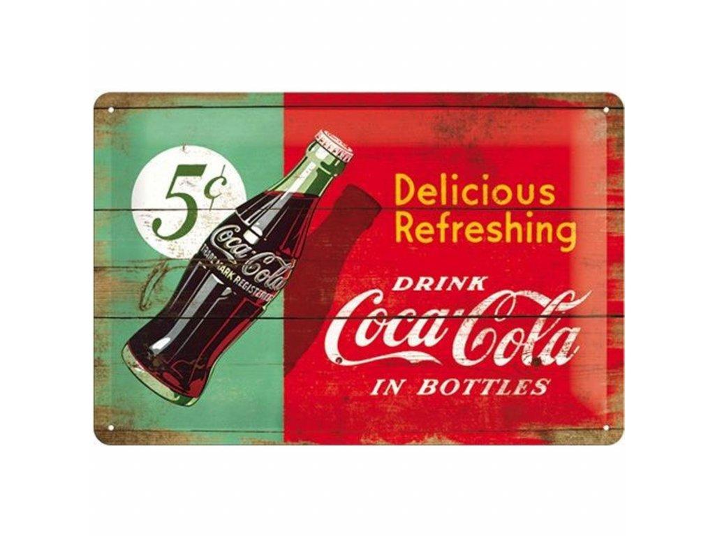 Plechová Ceduľa Coca-Cola Delicious Refreshing - Dvojfarebná