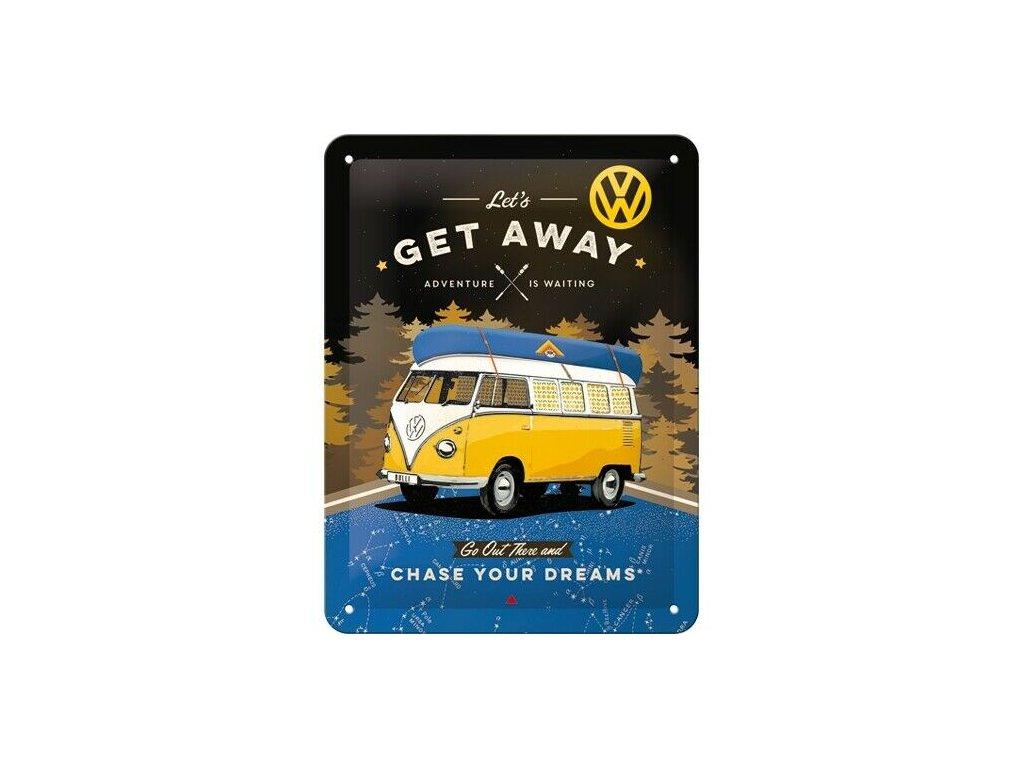 Plechová Ceduľa VW Bulli Lets Get Away