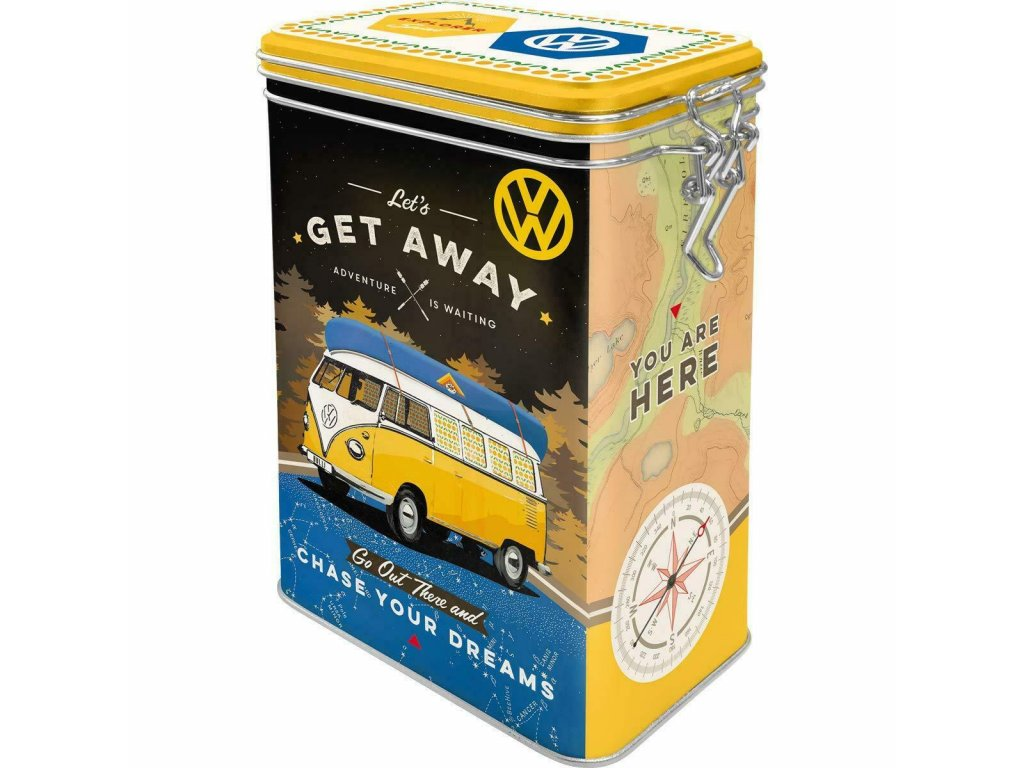 Plechová Dóza s Klipom - Volkswagen Let's Get Away