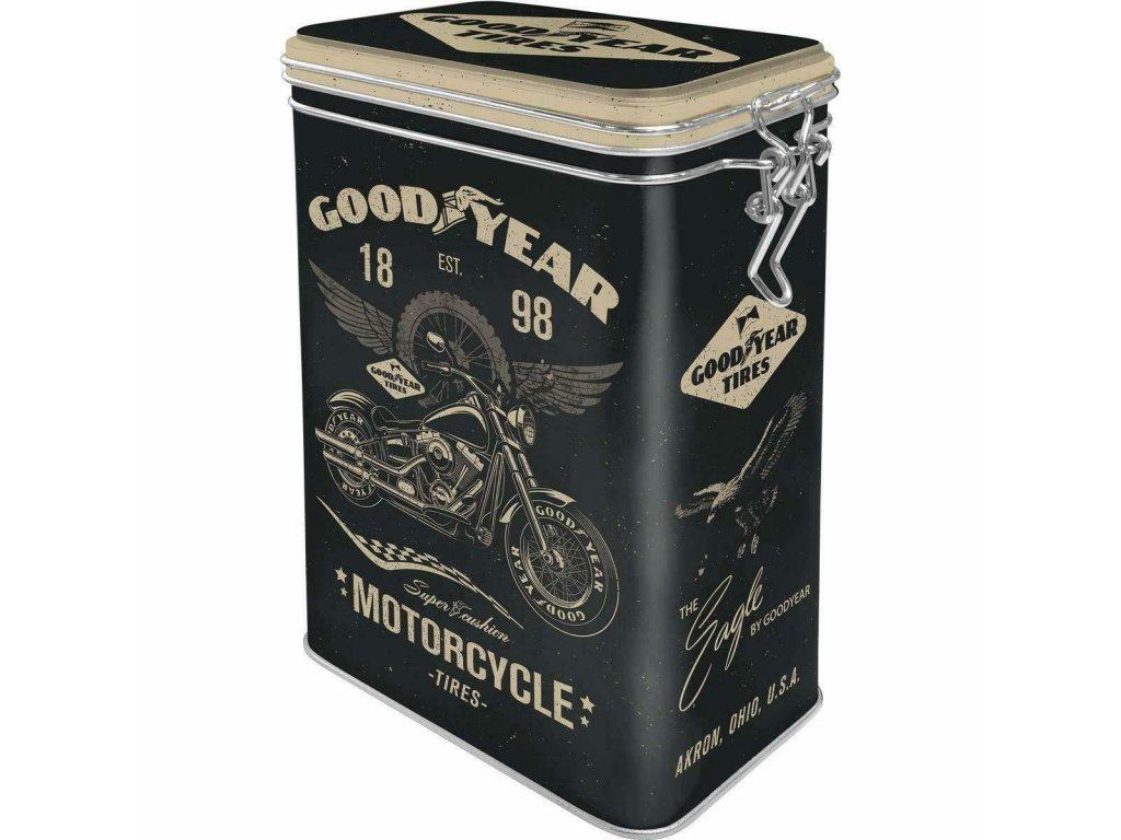 Plechová Dóza s Klipom - Goodyear Motorcycle