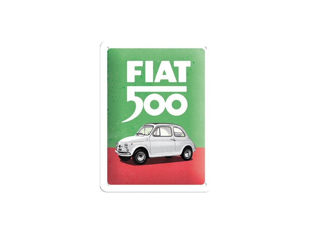 Plechová Ceduľa Fiat 500 (Italian Colours)