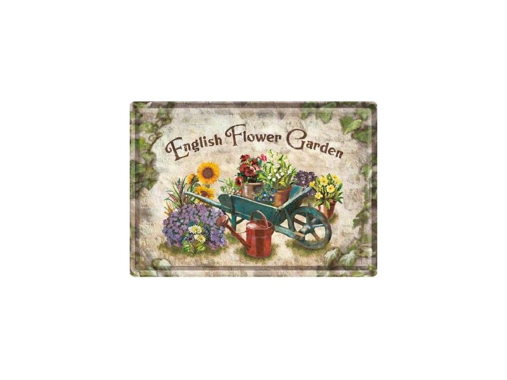 Plechová Pohľadnica Flower Garden