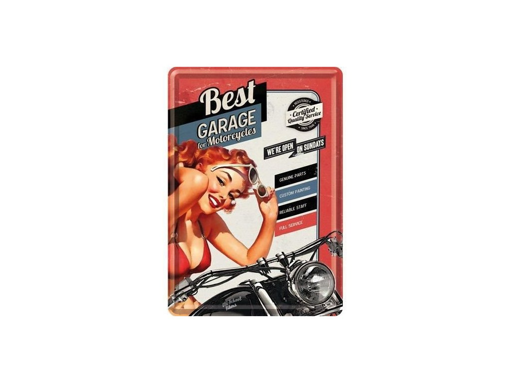 Plechová Pohľadnica Garage For Motorcycles