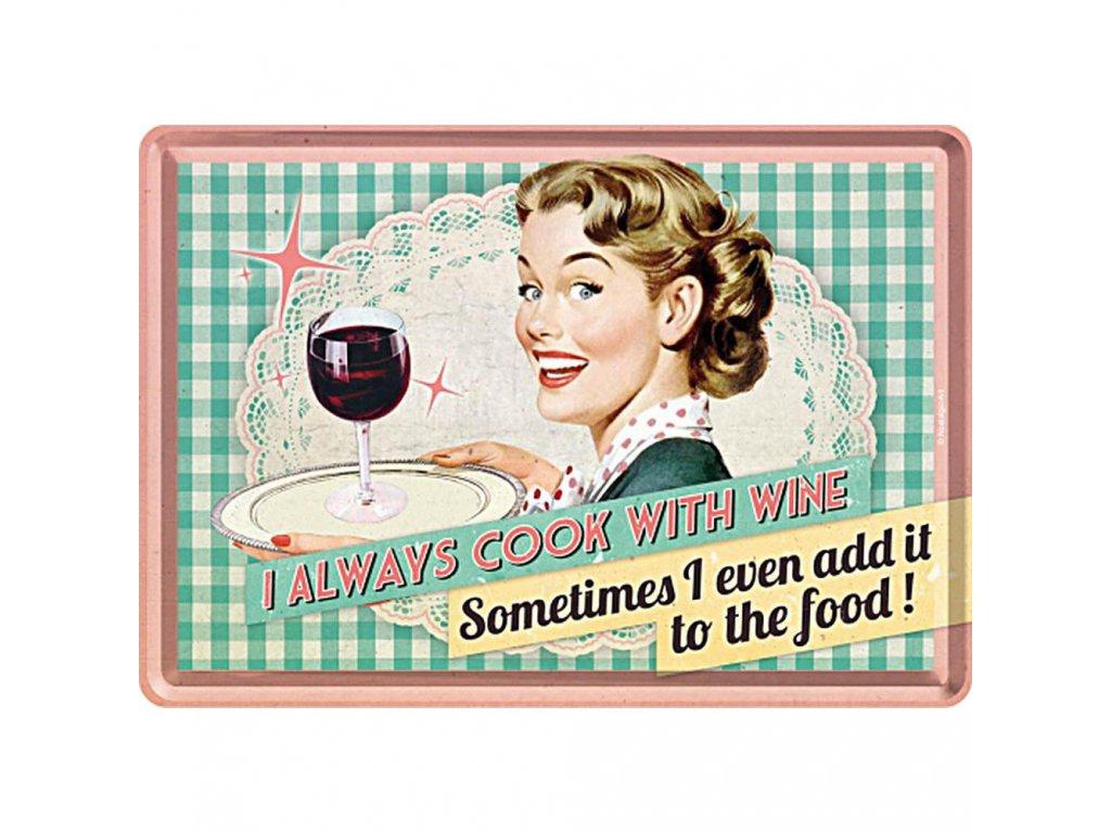 Plechová Pohľadnica Cook With Wine