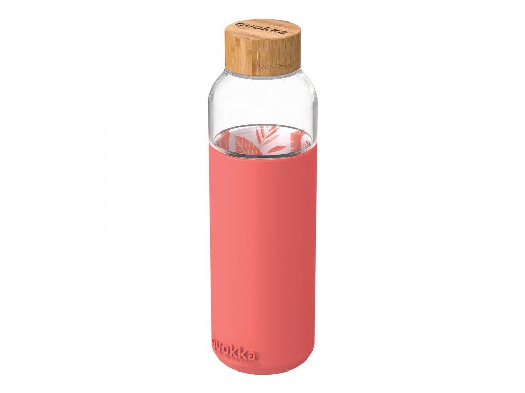Sklenená Fľaša So Silikónom Quokka Flow - Pink Botanical