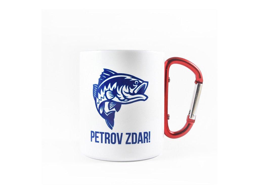 Biely Nerezový Hrnček s Karabínou Petrov Zdar