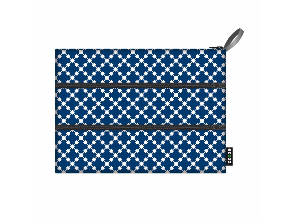 Ecozz Zip Bag - Squares Blue 1