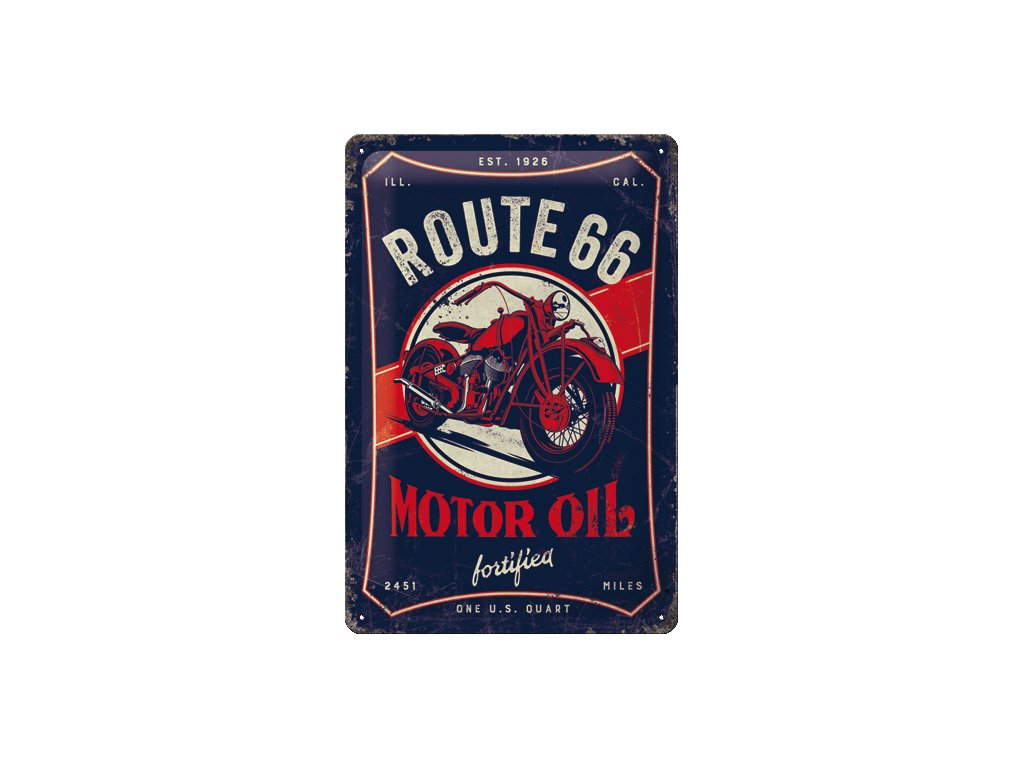 Plechová Ceduľa Route 66 Motor Oil