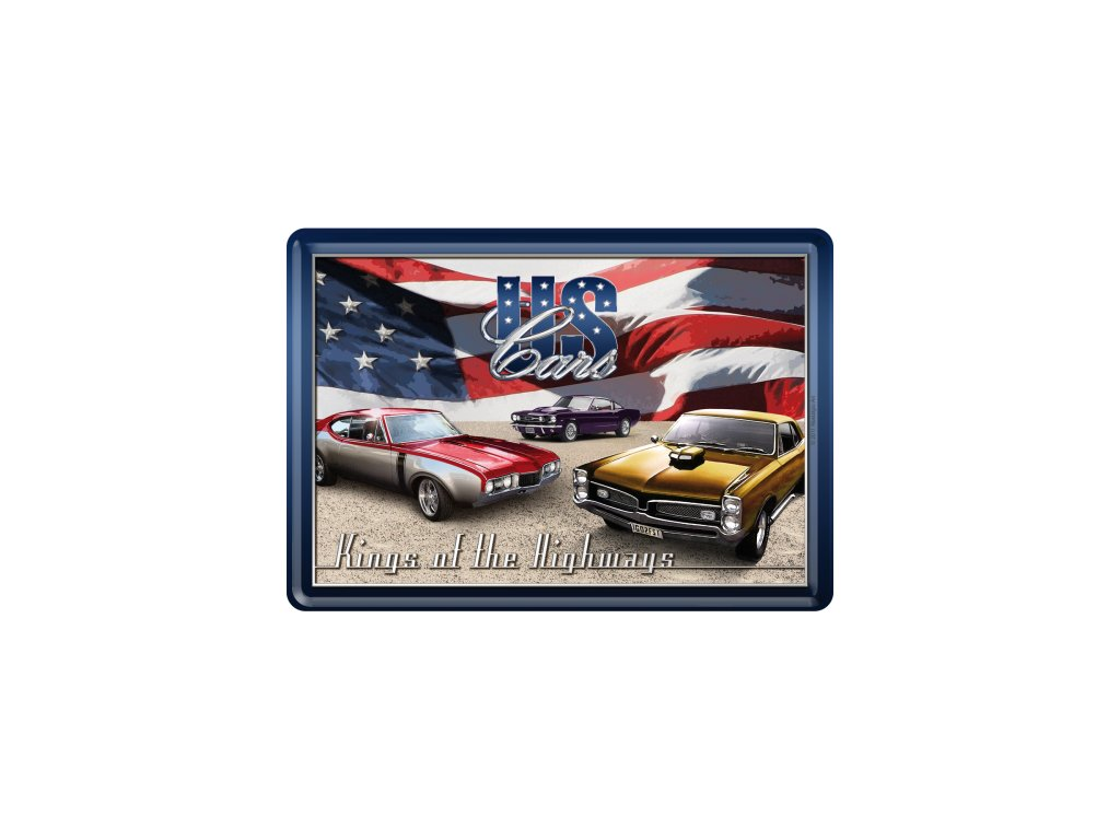 Plechová Pohľadnica US Cars