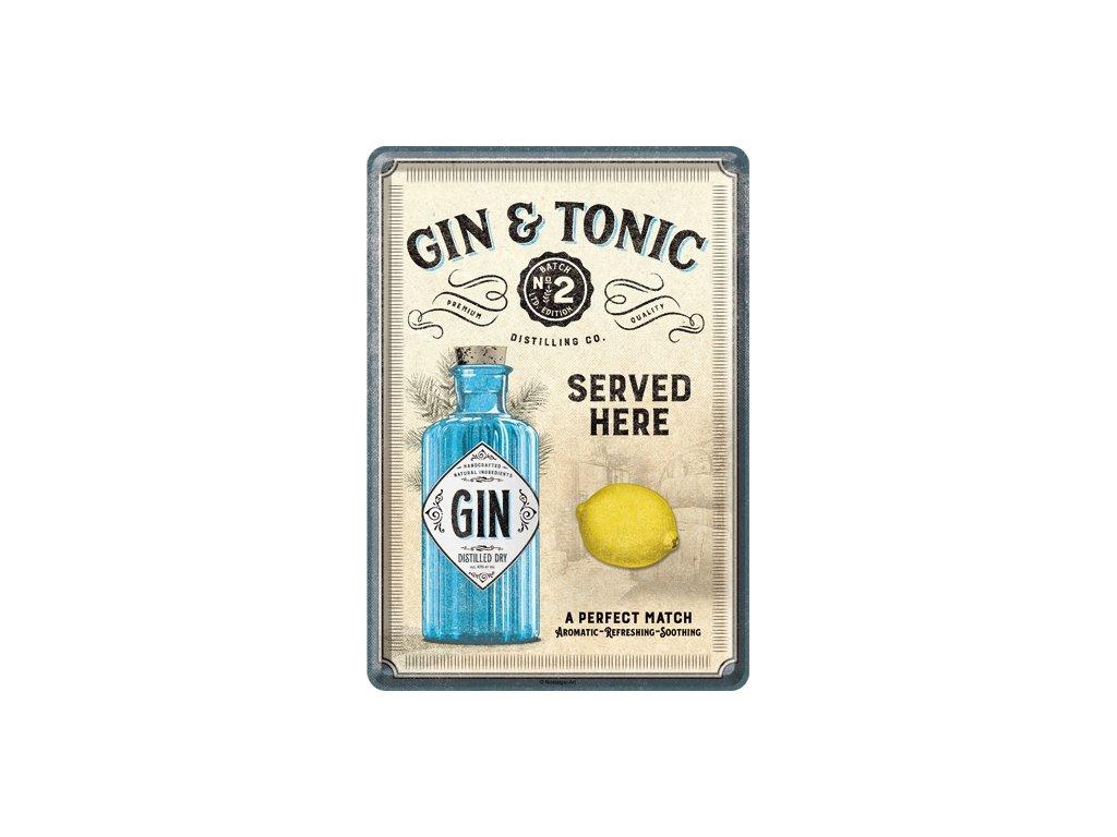 Plechová Pohľadnica Gin & Tonic Served Here