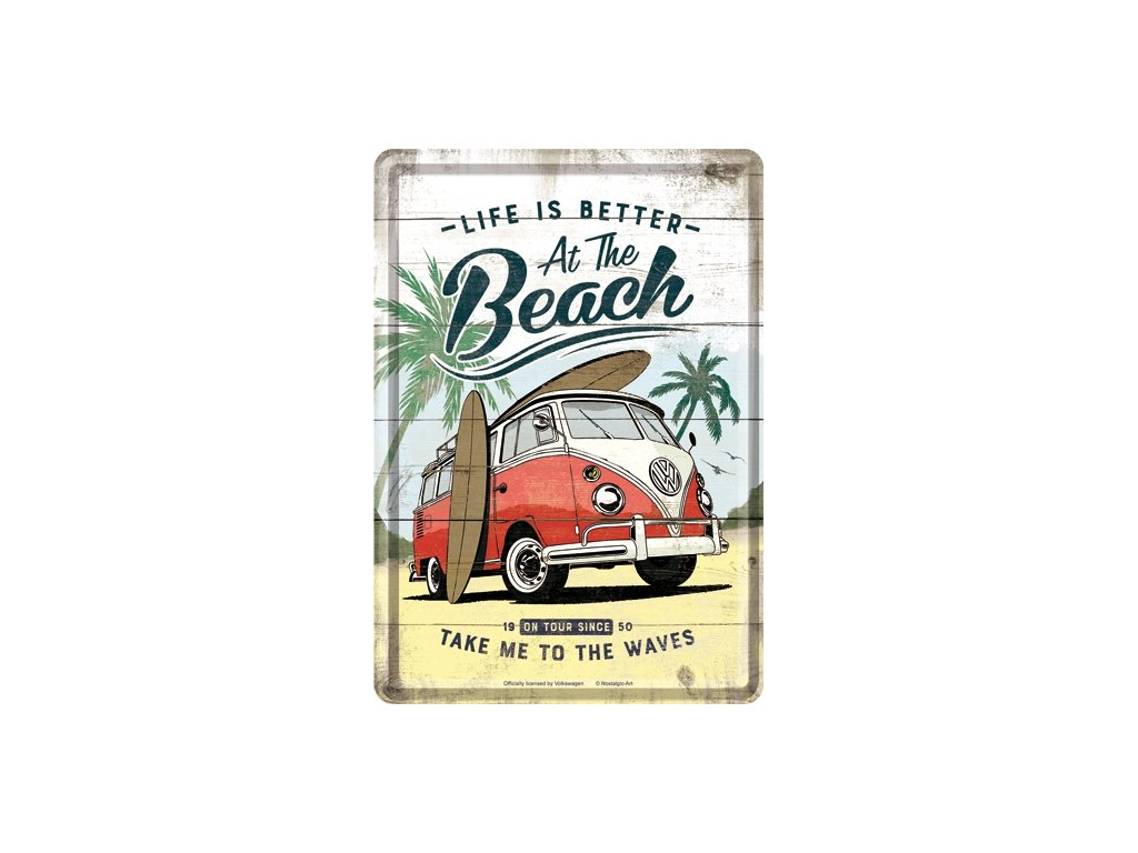 Plechová Pohľadnica VW Bulli Life Is Better At The Beach