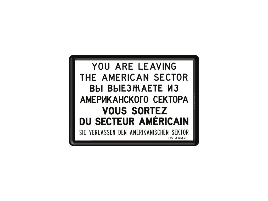 Plechová Pohľadnica You are Leaving the American Sector