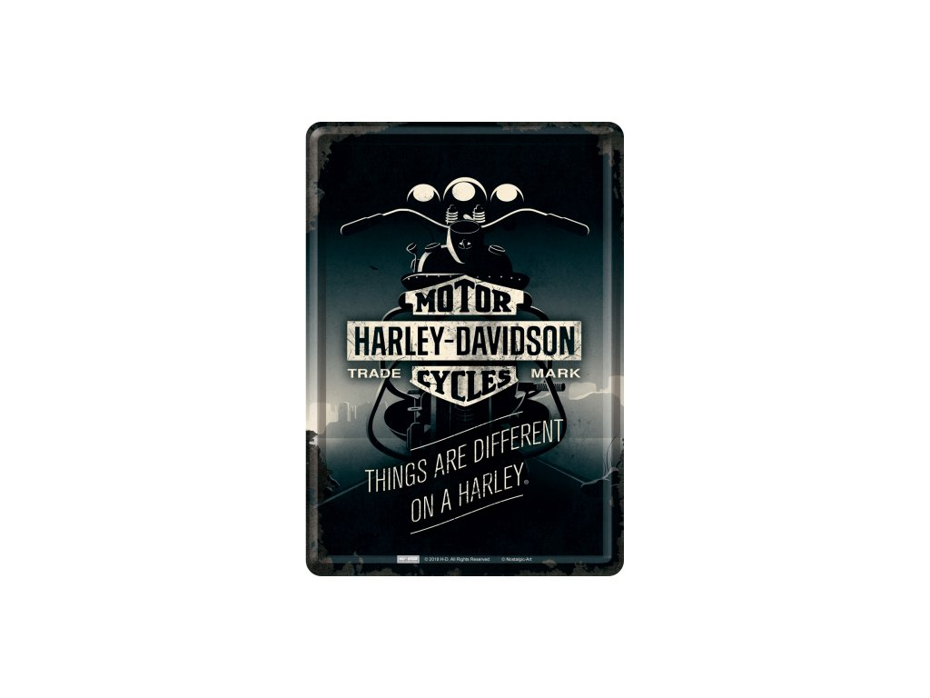 Plechová Pohľadnica Harley-Davidson Motor Cycles