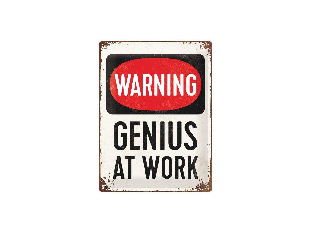 Plechová ceduľa Warning! Genius at Work