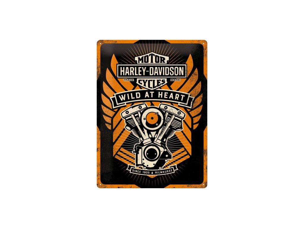Plechová ceduľa Harley-Davidson Wild At Heart (Matná Edícia)