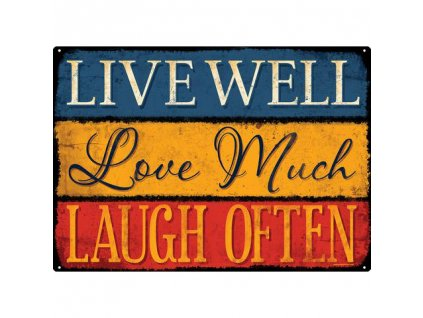 Plechová Ceduľa Live, Love, Laugh
