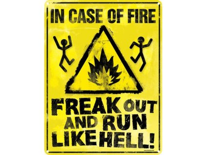 Plechová ceduľa In Case Of Fire