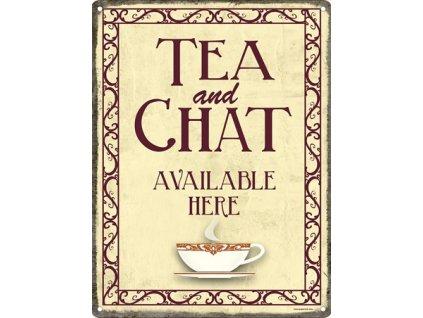 Plechová Ceduľa Tea And Chat