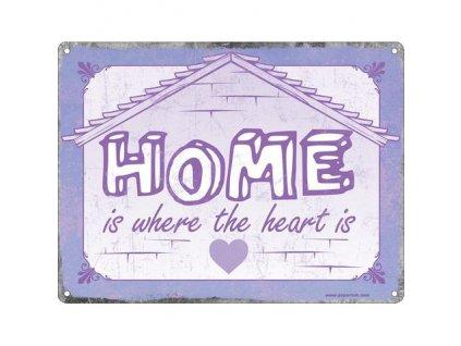 Plechová Ceduľa Home is Where the Heart is