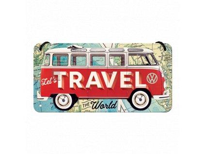 Plechová Ceduľa Let's Travel The World (VW Bulli)
