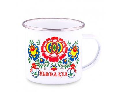 Plechový smaltovaný Hrnček Slovakia - Kvet