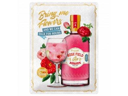 Plechová Ceduľa Pink Gin Flowers