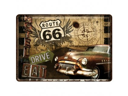 Plechová Pohľadnica Route 66 Drive