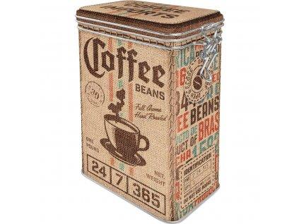 Plechová Dóza s Klipom - Coffee Beans