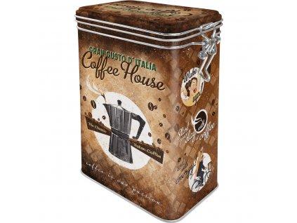 Plechová Dóza s Klipom - Coffee House
