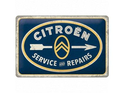 Plechová Ceduľa Citroën Service And Repairs