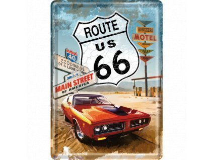 Plechová Pohľadnica Route 66 US