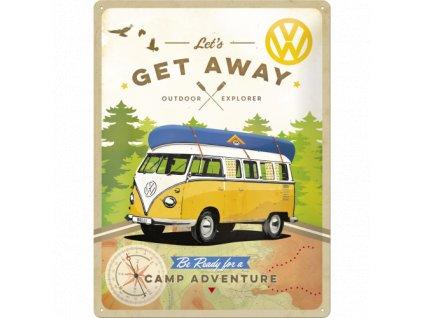 Plechová Ceduľa VW Bulli Let's Get Away