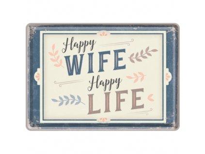Plechová Pohľadnica Happy Wife Happy Life