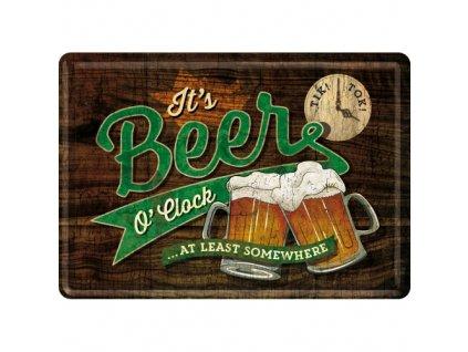 Plechová Pohľadnica It's Beer O'clock