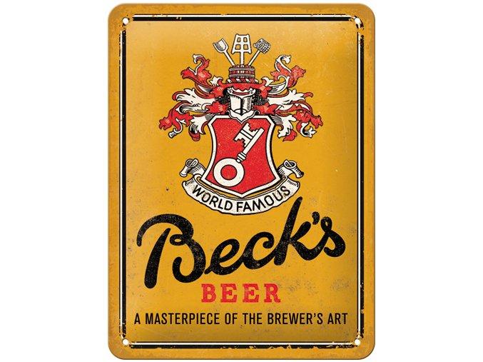 Plechová Ceduľa Beck's Beer (World Famous)
